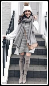 Knee boots with sweater and scarf