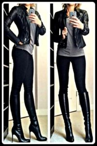 Knee boots with leggings