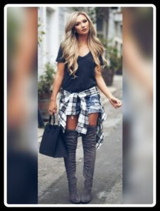 Knee high boots with Denim short
