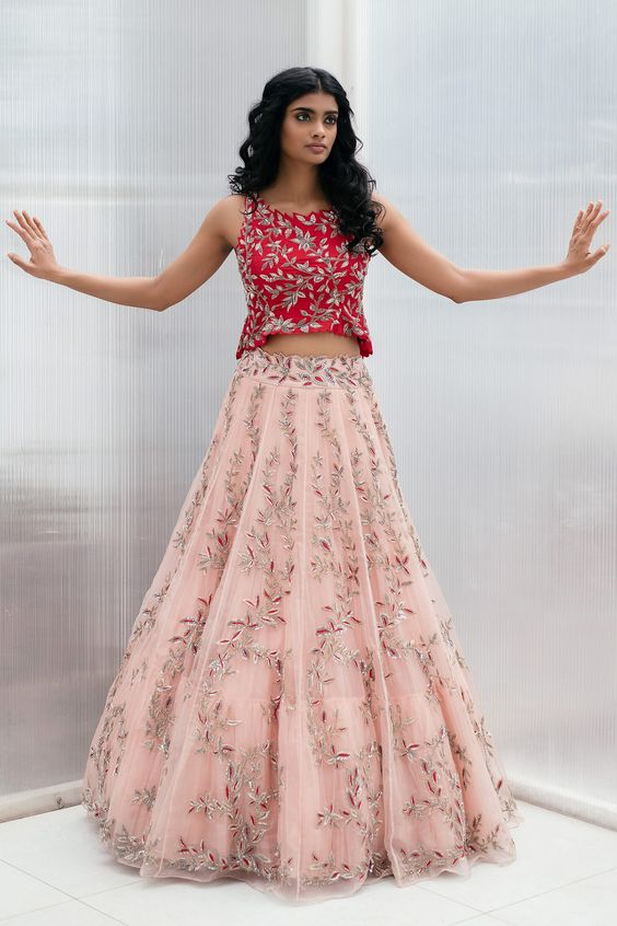 crop top with lehenga