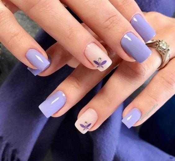 Purple pink nail art